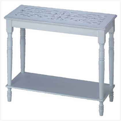 3470900: SALE: Distress White Wood Hall Table with Carved Top