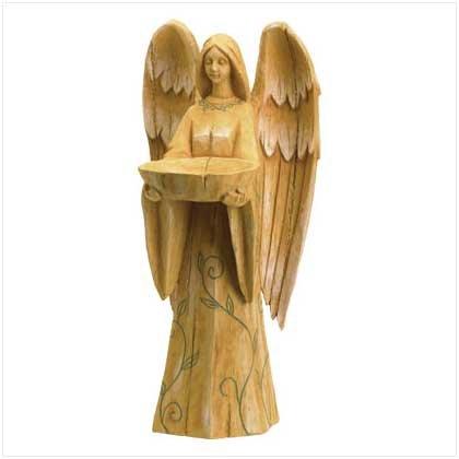 """3774400  20"""" Enchanting Angel Birdfeeder- Looks like Hand Carved Wood (Resin)"""