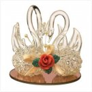 2178000: EXQUISITE TWIN SWANS SPUN GLASS FIGURINE