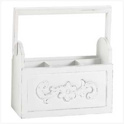 3313700: Distressed White Wood Cutlery Caddy Holder - Limited Drawer Space?  You Need This!