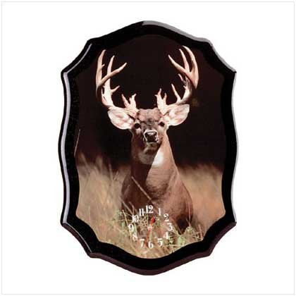 2839600: Standing White Tail Buck Wall Clock - Rustic Home Decor