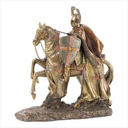 3818700: Medieval Riding Crusader Sculpture oos