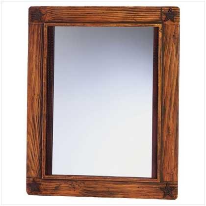3463500: Rustic Wood Western Stars Wall Mirror