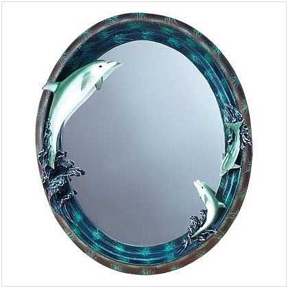 3216400: Dolphin Theme Oval Wall Mirror