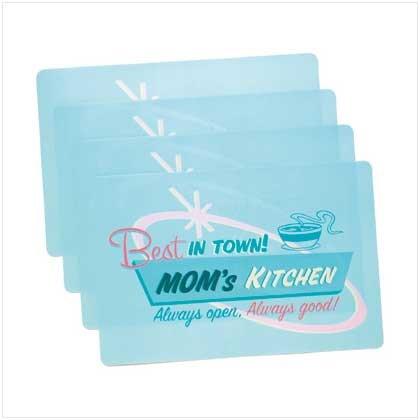 """Mom's Kitchen"" Retro Vinyl Placemats-Set of 4"