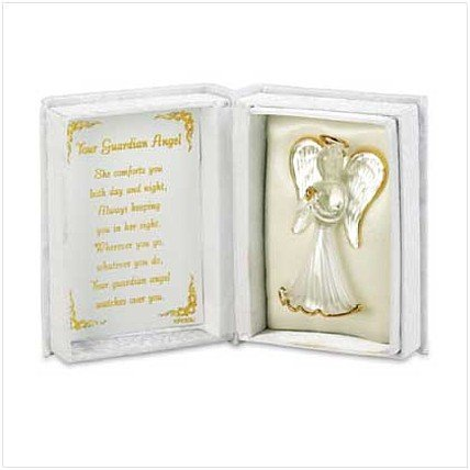 3623600: 22K Gold Trimmed Glass Angel In Satin Box
