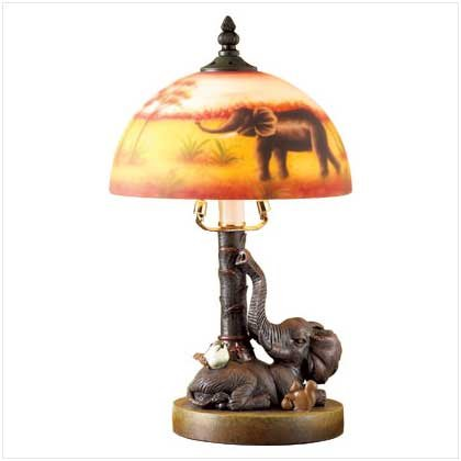 3717500: Elephant Lamp with Grass Shade - African Decor-oos