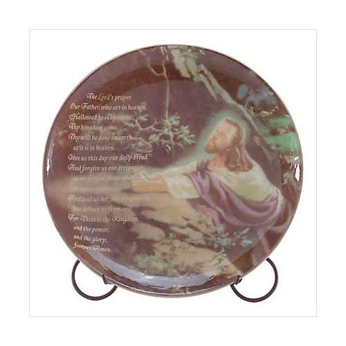 3241700: Jesus Praying Plate with Metal Stand Religious Decor
