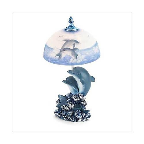 "3717400: 15"" Dolphin Lamp with Frosted Glass Shade"