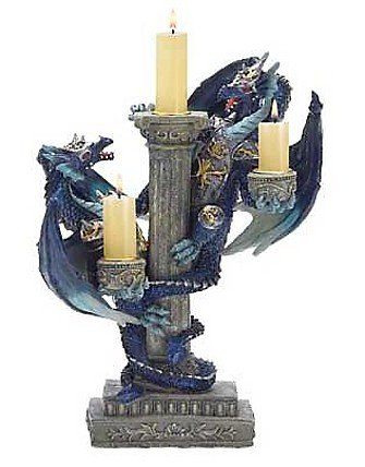 3820200: Two Blue Dragons Candleholder