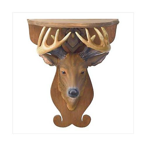 3797500: Deer Head Wall Shelf - Rustic Home Decor
