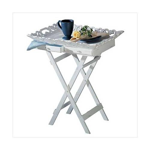 3313900: Distressed White Folding Tray with 2 Drawers: Low Shipping Charges