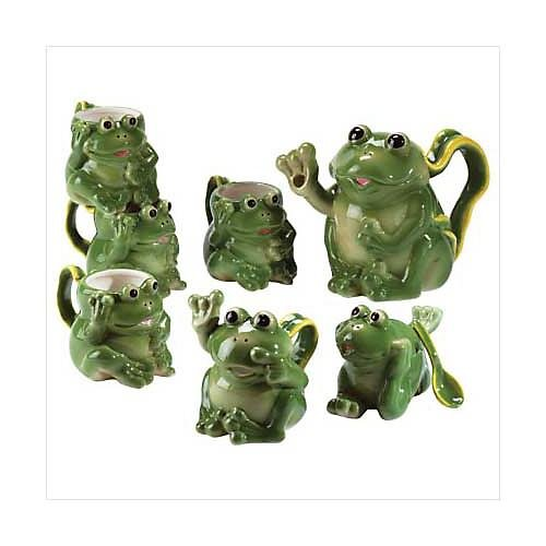 10 Pc. Porcelain Frog Tea Set