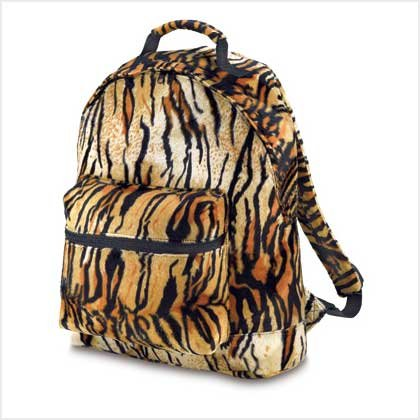 3872500: Tiger Print Plush Backpack-Great for School/College/Traval and More - oos?