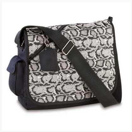 3872600: Snakeskin Design Messenger Tote Bag-Great for School/College/Travel