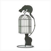 3755400: Metal Cat Birdcage Planter
