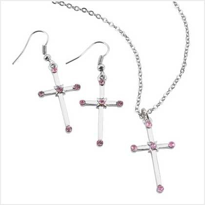 3850800  Pink Crystal Cross Necklace and Earring Set