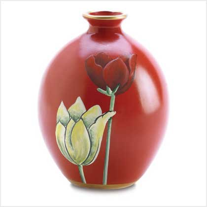 3866000: Hand Painted Garnet Red Tulip Vase