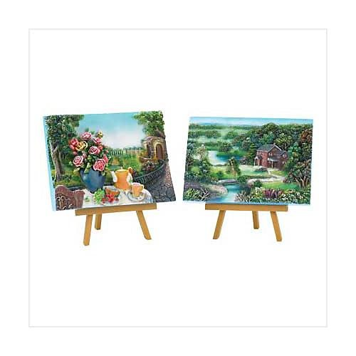 3880400: Countryside Splendor Plaques with Stands - 4 pc. Set