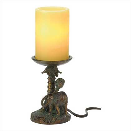 "3859200: 11"" Safari Elephant Candle Lamp - UL Listed"
