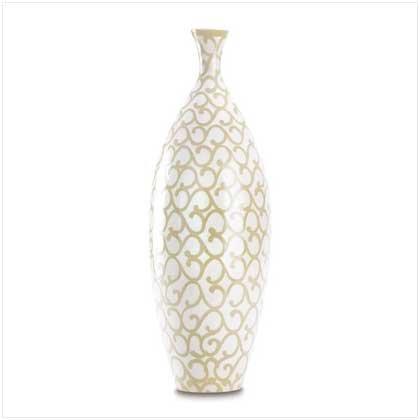 3839000: Cream Scrollwork Vase