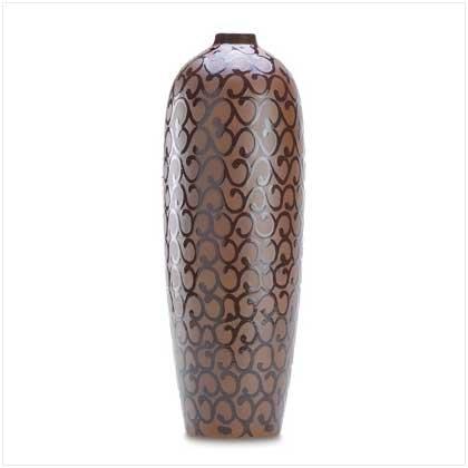 3838800: Mocha Scrollwork Vase - Home Decor