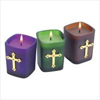 3889700: Frosted Glass Jeweled Cross Votives-3 pc Set  Religious Decor