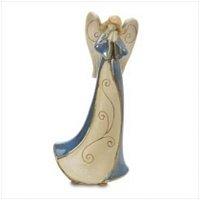 3808000: Folk Art Porcelain Blue Angel Figurine