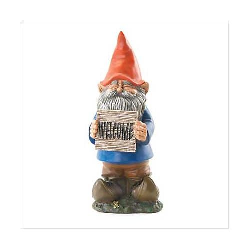 "3709600: ""Welcome"" Standing Gnome Statue for Home and Garden Decor"