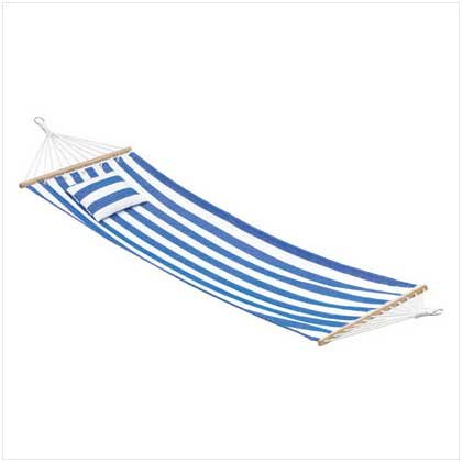 3666900: Blue and White Hammock with Pillow