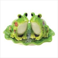 3916700: Adorable Floral Design Frog Salt and Pepper Set