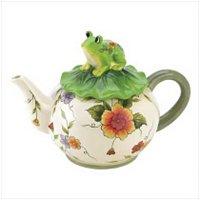 3916800: Charming Floral Design Frog Teapot