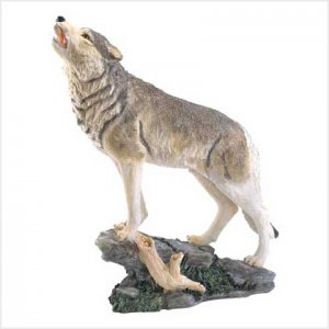 3935000: Howling Wolf Sculpture - Over 18 Inches Tall