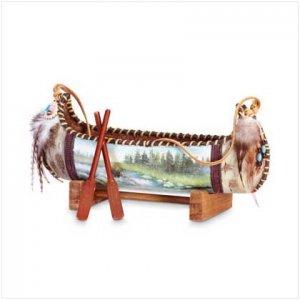 3369700: Model Native American Canoe-Painted