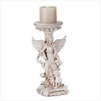 3417200: Guardian Angel Candle Holder Religious Decor
