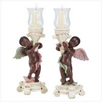 3413500: Black Cherub Angel Candelholders - Set of 2
