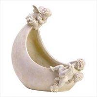 3830300: Angel Cherub Moon Planter Holder
