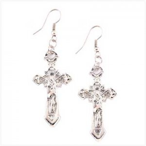 3951600: Silvery Tone Cross Earrings