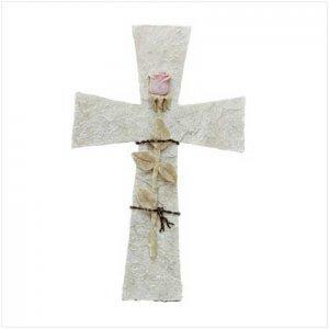 3102100: Rose on Stone Cross Wall Plaque - Religious Decor