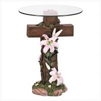 3941000: Inspirational Cross Glass Top Table - Religious Decor
