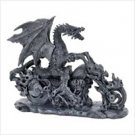 3927300: Dragon on Flaming Motorcycle Sculpture