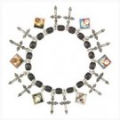 3981800: Filigree Cross and Mini-Portraits Charm Bracelet