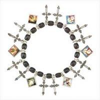 3981800: Filigree Cross and Mini-Portraits Charm Bracelet