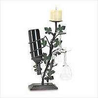 3853100 Grapevine Candle, Glasses and Wine Holder