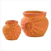 3901000: Sun Face Planter 2 pc Set for Home and Garden Decor