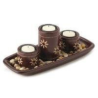 1205200: Zen Candleholder Tray - Asian Home, Office or Garden Decor