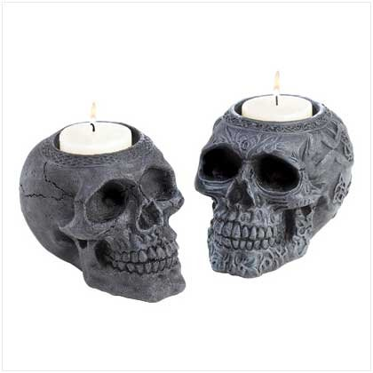 3982600: Gothic Human Skull Candle Holders - 2 pc. Set