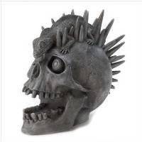 3983400: Punk Rock Skull and Lizard Sculpture - Polyresin