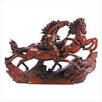 2922100: Hong Tze Collection - Galloping Wild Horses Sculpture - Asian Decor
