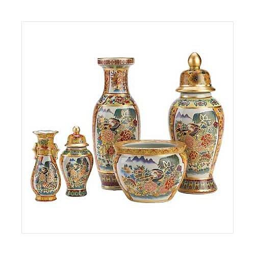 3956700: Asian Palace Vase Collection Ensemble - 5 pc. Set